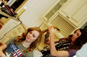 Sarah getting dolled up:)