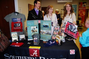 Here is our table!!!....Sabotaged with Alabama everywhere!!!......