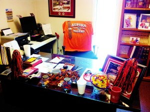 Pastor Billy Bevan's (A staunch Alabama fan) office decked in orange and blue!!!!:)